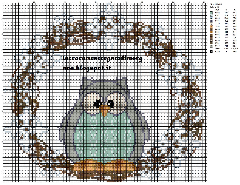 схема совы вышивки подушки