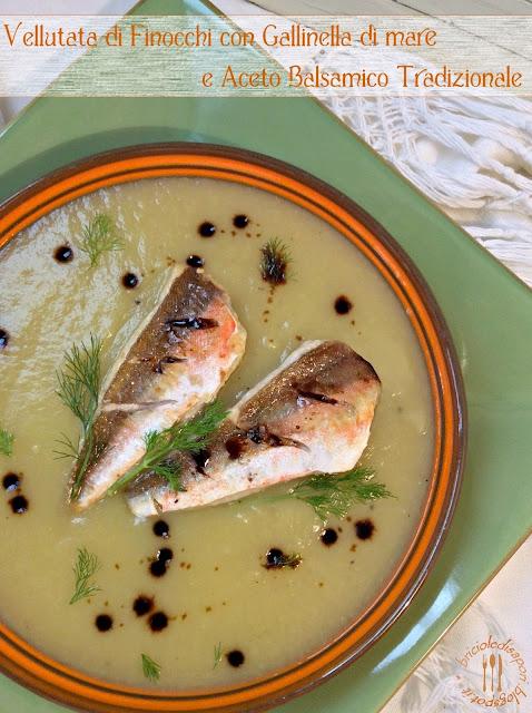 vellutata di finocchi con filetti di gallinella di mare e aceto balsamico tradizionale di modena d.o.p.