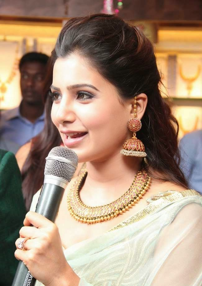 Samantha in Jhumkas studded with Rubies and Pearls