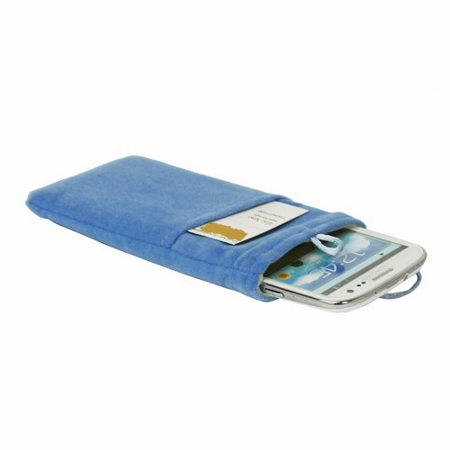 Universal Plush Pouch Bag with Button Closure for Samsung Galaxy S 3 III i9300 S 4 IV i9500 i9505, Size 13.8cm x 8.1cm - Blue