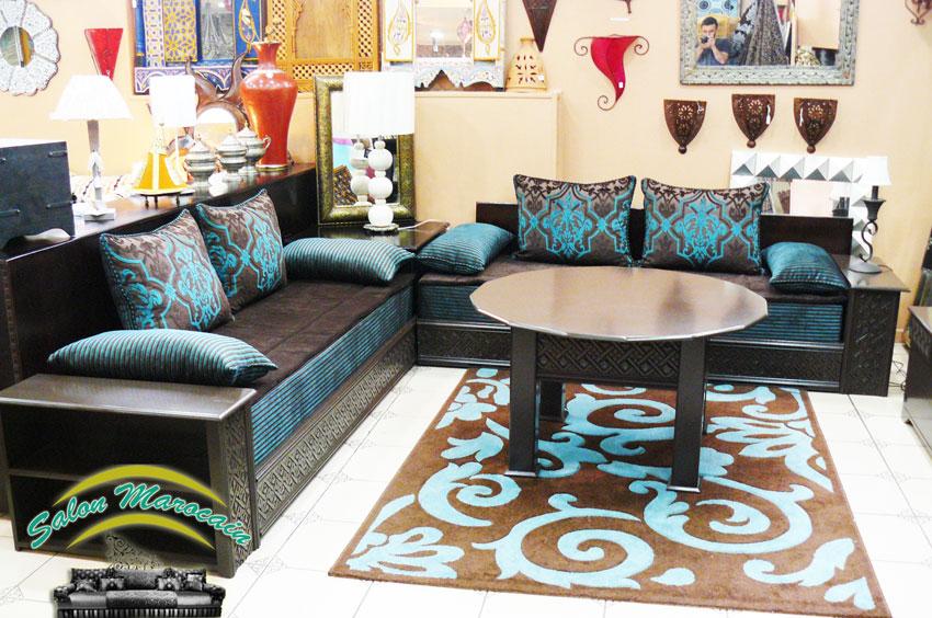 Salon Marocain Beige Et Marron. Top Awesome Salon Marocain Bleu Et ...