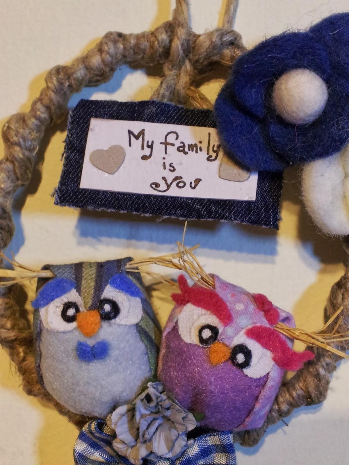 owl gufi love innamorati ghirlanda wreath pannolenci feltro handamade