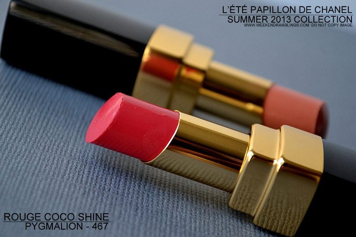 Chanel Summer 2013 Makeup Collection LEte Papillon de Chanel Rouge Coco Shine Pygmalion 467 Indian Darker Skin Swatches Photos Makeup Beauty Blog