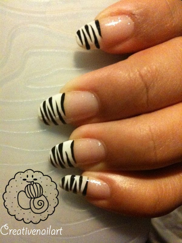 Creative Nail Art Nail Art White Tiger French