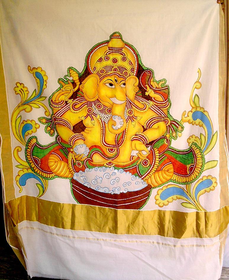 Krishna mural paintings on sarees