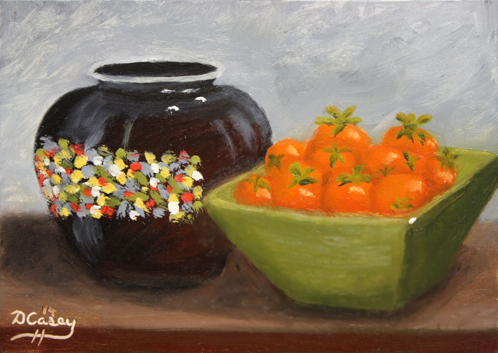 Kitchen Painting - Ginger Jar and Cherry Tomatoes 001a 5x7 oil on gessobord - Dave Casey - TheDailyPainter.jpg