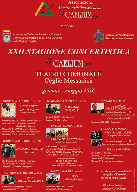STAGIONE CONCERTISTICA 2016 - ASSOCIAZIONE CAELIUM