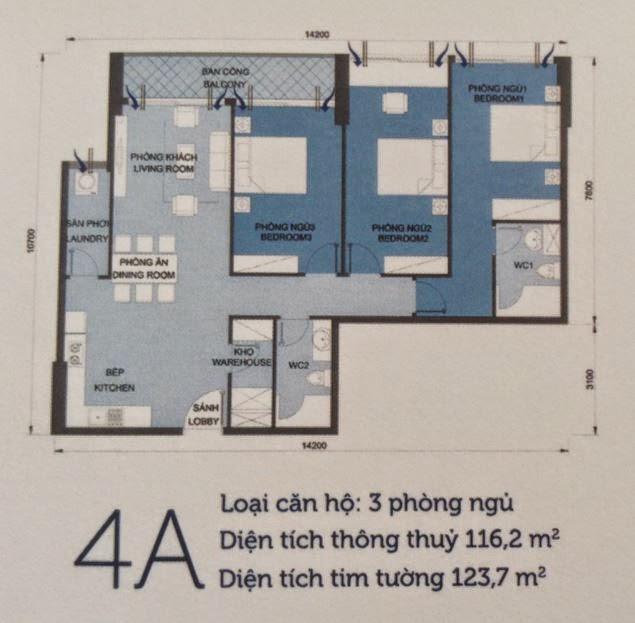 Căn hộ Vinhomes Central Park 6 - căn hộ số 4A - 123.7m2 - 3PN