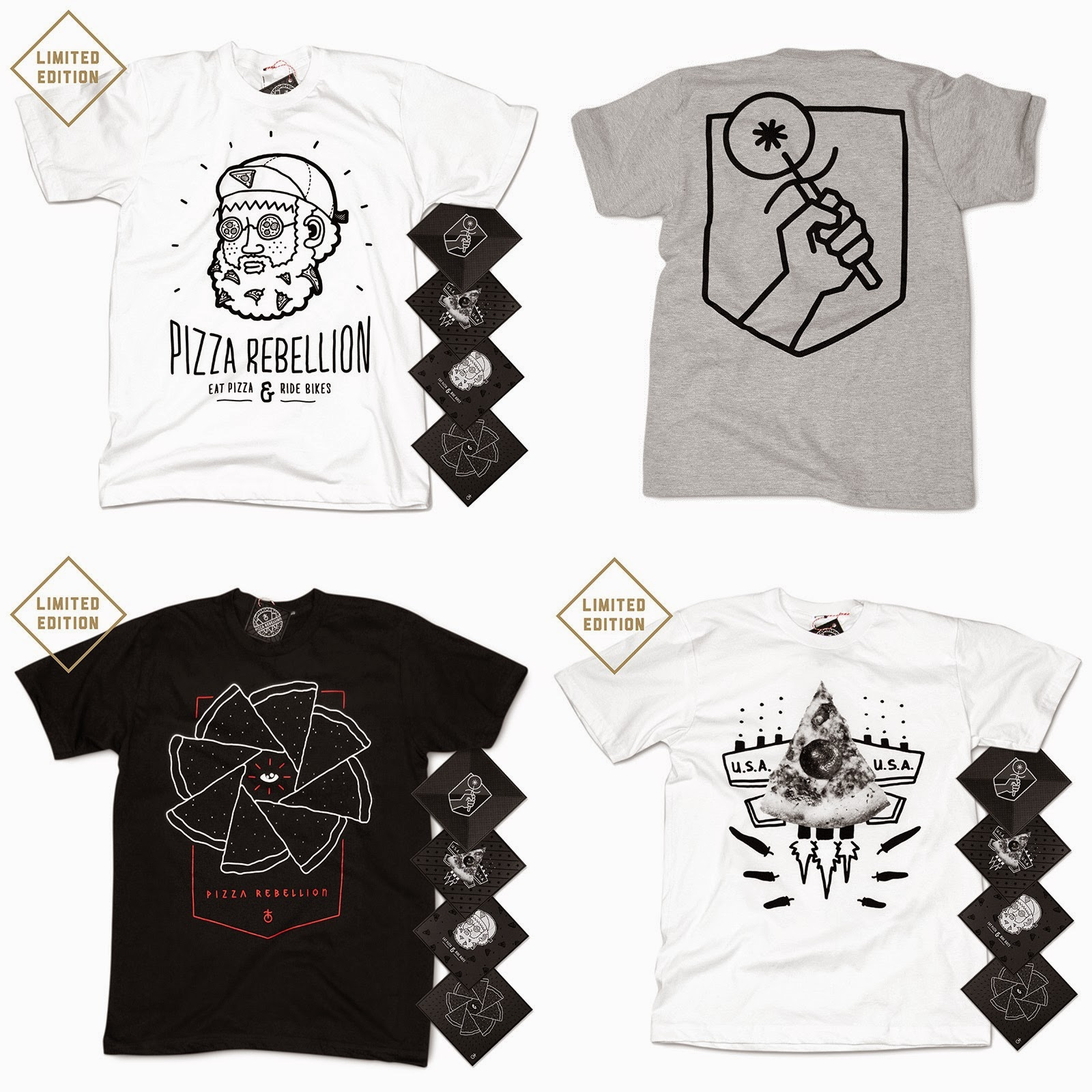 Pizza Rebellion T-Shirt Collection - The Pizza Boy, Pizza Pride, Space Pizza & Chilly Bomber