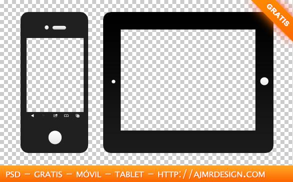 Móvil y tablet en formato (PSD)