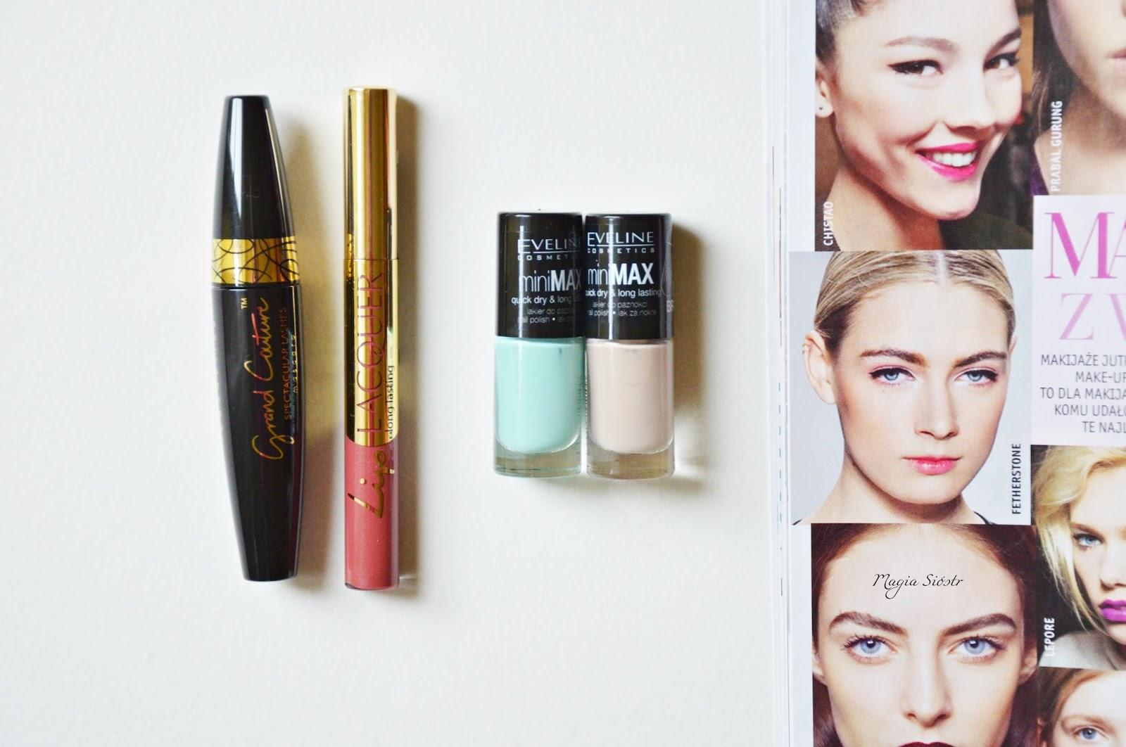 makijaż kosmetyki Eveline, kolorowe kosmetyki, tusz do rzęs, lakier do ust, lakier do paznokci
