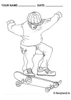 Desenhos Para Colorir as Skatista profissional na ativo