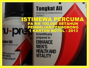 Bermula Fabuari 2013 PA RM100,000 dan Manfaat Rawatan Hospital 1 TAHUN PERCUMA dari Nu-Prep 100