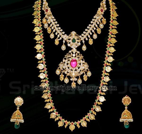 Gold Plain Long Set by Bhavani Jewels