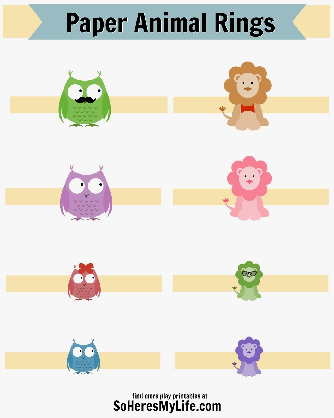 Super fun animal ring printables - click through and get them!!