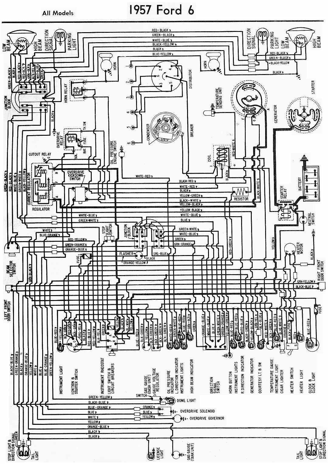 Ford 6 Cylinder All Models 1957 Wiring Diagram