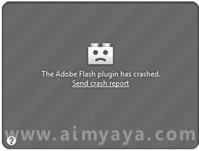 Gambar:  Contoh tampilan flash yang crash