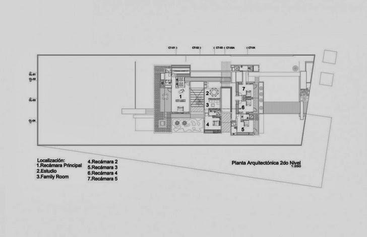 Second floor plan of Casa del Agua by Almazán Arquitectos Asociados