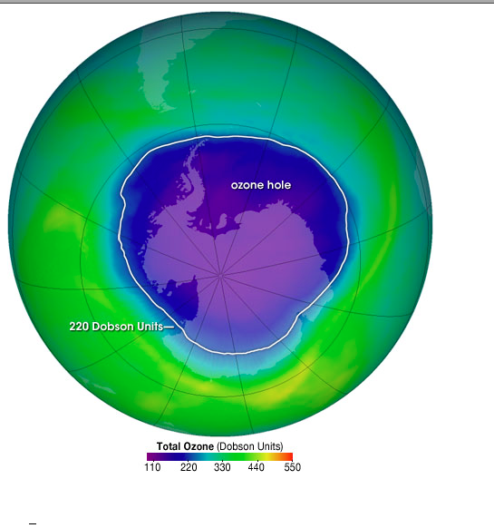the ozone hole chlorofluorocarbon Chlorofluorocarbons (cfcs) and other  responsible for man-made chemical  ozone depletion.