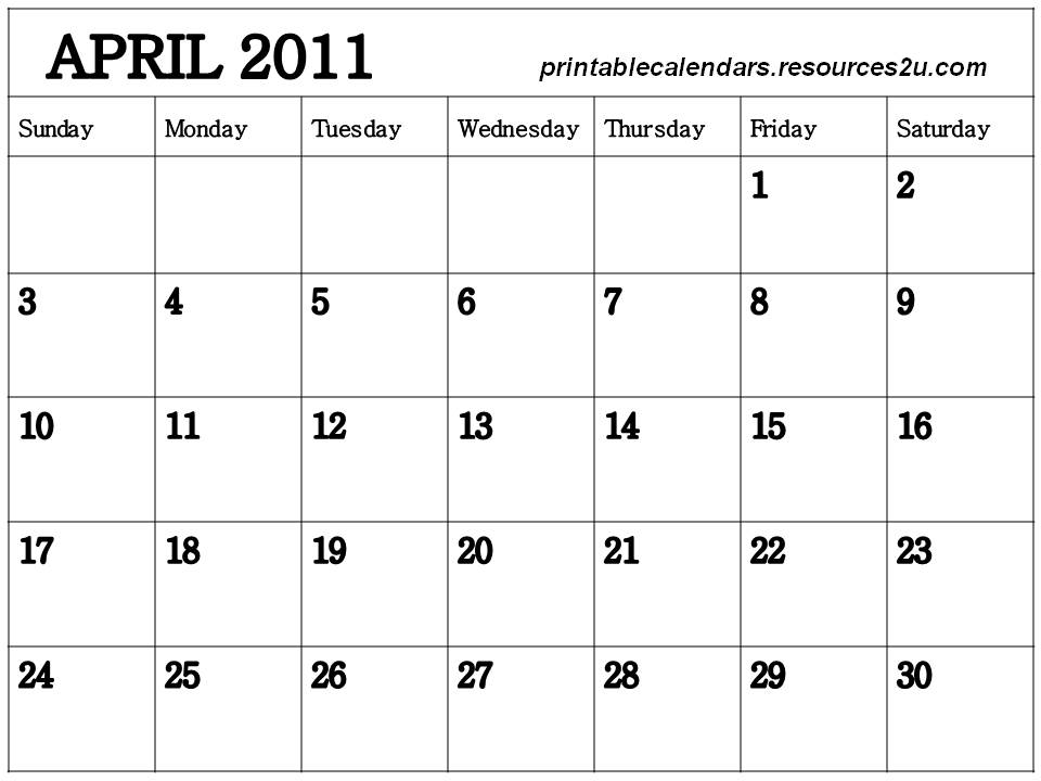 2011 Calendar Month By Month. Calendar 2011 April month