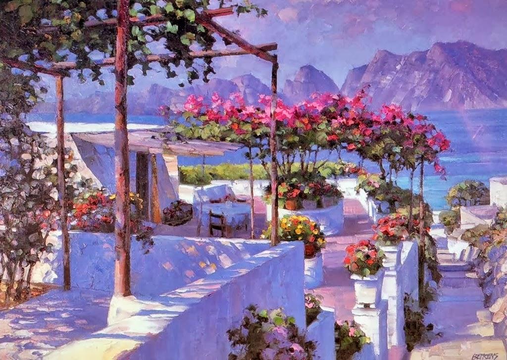 Howard Behrens ( Pintor ) Paisajes-de-mediterraneo-espatula-oleo+(6)