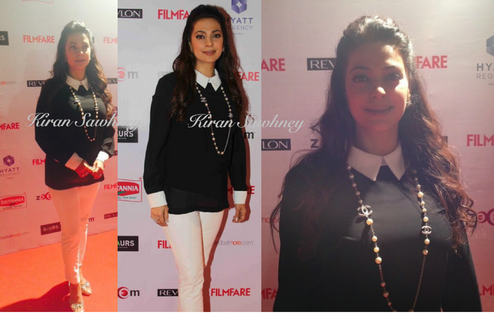2 Monochrome appearances at Filmfare pre awards party 2015. Juhi Chawla. Tanishaa Mukerji