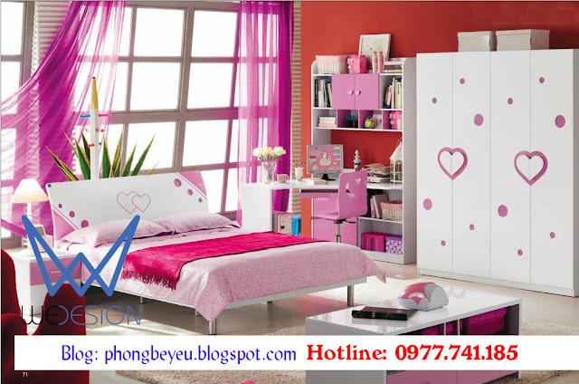 Bộ phòng ngủ cho bé gái hình trái tim