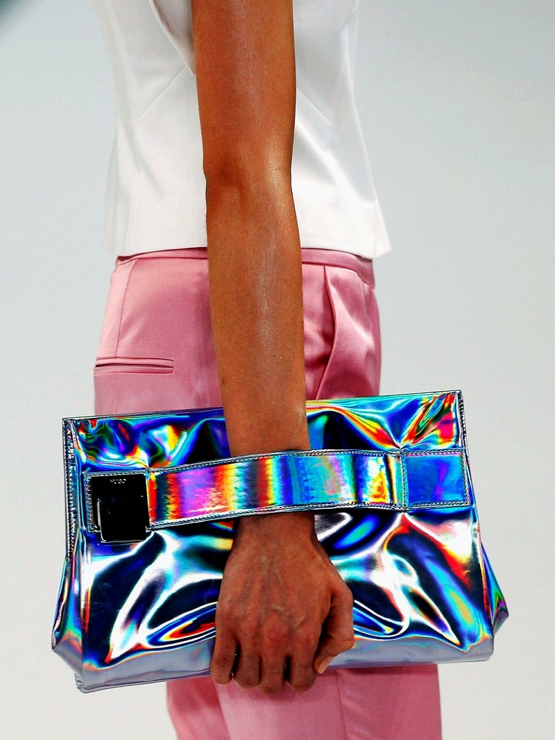 holographic trend, vogue, digital, futuristic, metallic, Hugo Boss S/S 2013