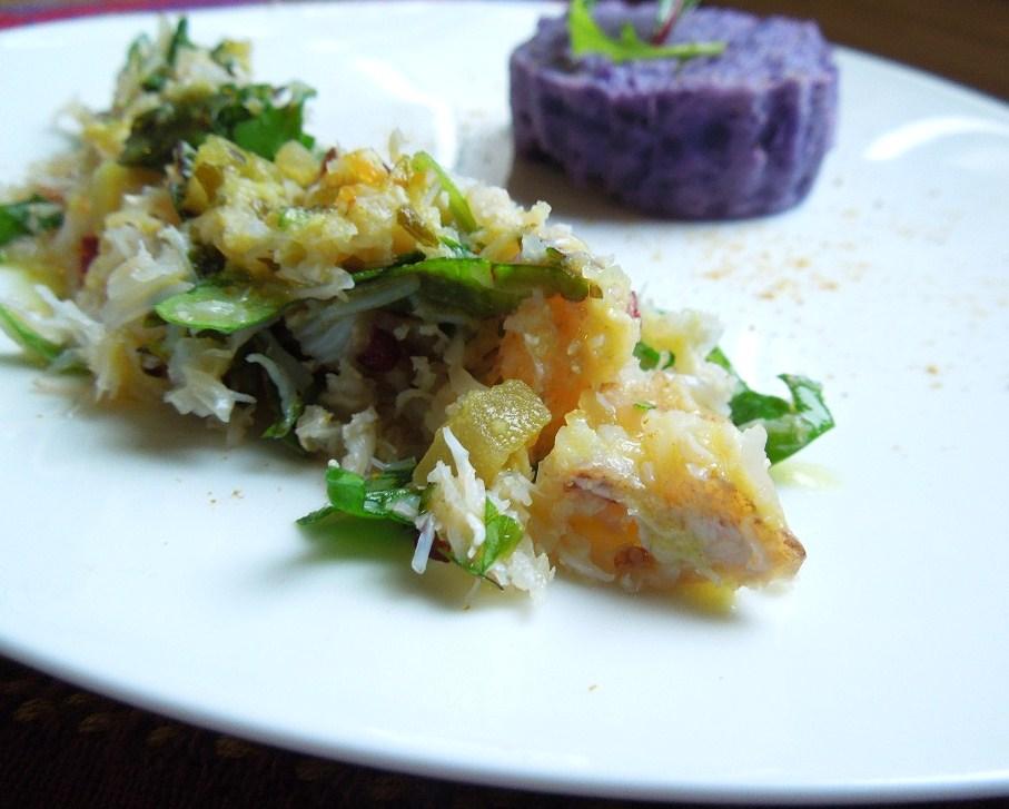 Dans mon assiette salade de crabe et sa pur e froide de for Entree froide legere