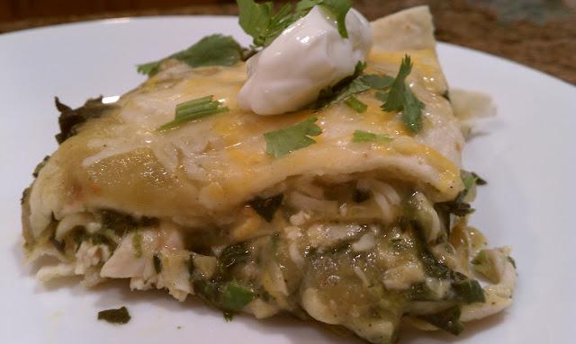 Recipe: Easy Green Chile Spinach Chicken Enchilada Casserole
