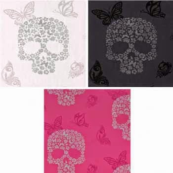 Wallpaper skulls and butterflies