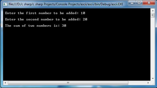 C Sharp Sense Simple C Program To Add Two Numbers Integers