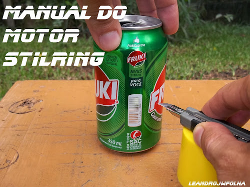 Manual do motor Stirling, corte da lata com estilete
