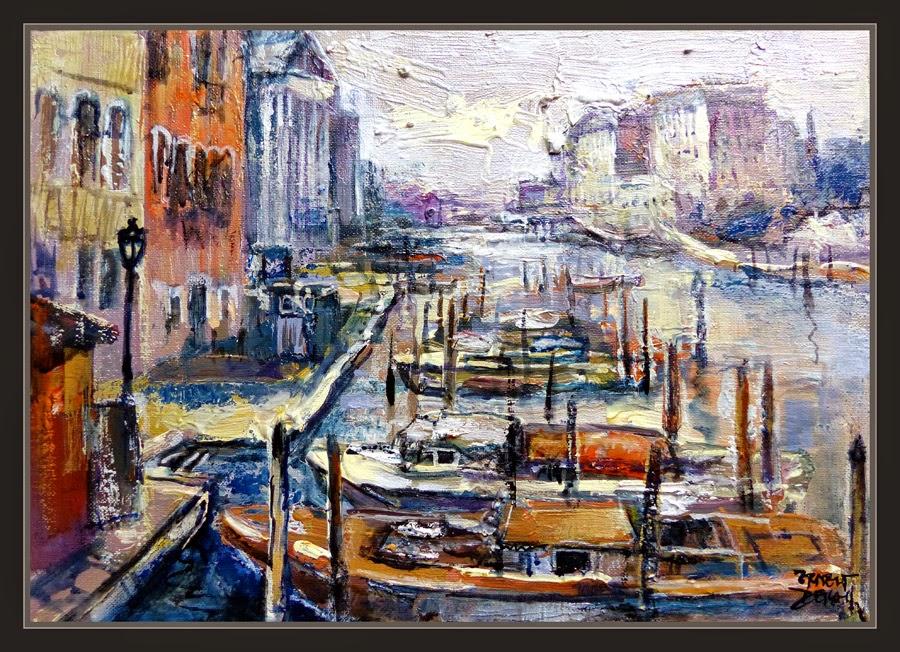 VENECIA-CANALES-PINTURA-BARCAS-GRAN CANAL-ITALIA-CUADROS-ARTISTA-PINTOR-ERNEST DESCALS