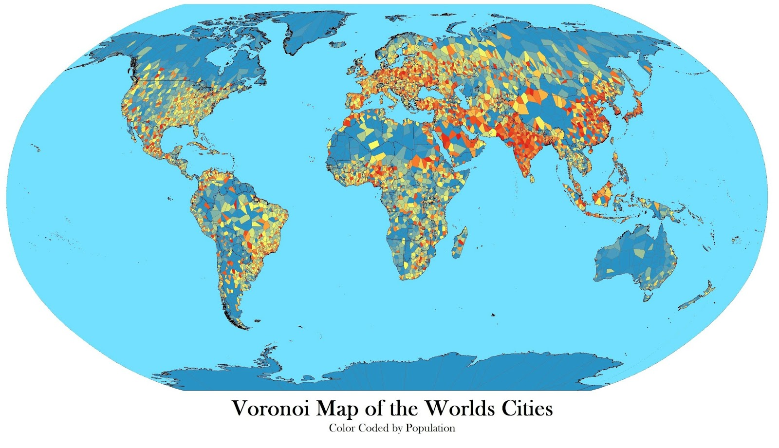 Voronoi map of the worlds cities with population rank