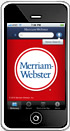 Image: Handheld device displaying the Merriam-Webster Dictionary App