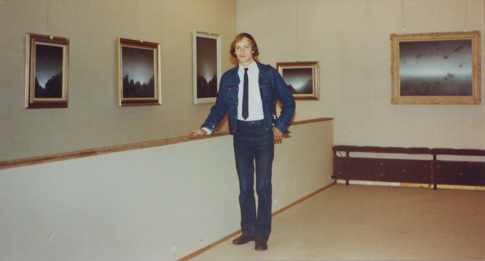 ALEXANDER RABINE AT HIS EXHIBITION AT CHANTEPIERRE GALLERY, AUBONNE, SWITZERLAND, 1981