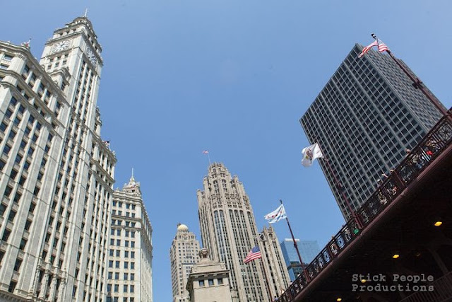 Wrigley (right) Tribune (left) buildings - Wendella River Cruise, Chicago, IL - (c) Stick People Productions