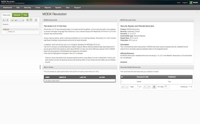 Bitnami MODX Stack Dashboard