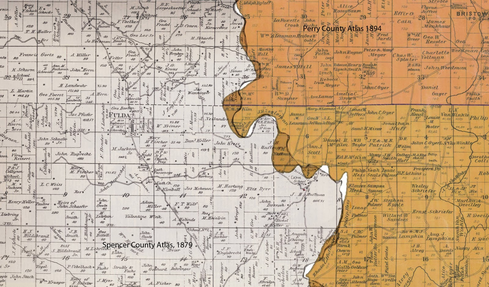 this first image shows the problems i am sure i will run into these are plat maps from the late 1800 s of the area around huffman