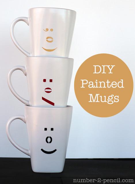 Emoticon Mugs - DIY painted coffee cups