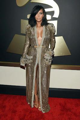 Kim Kardashian hot cleavage at 2015 Grammy Awards in Los Angeles
