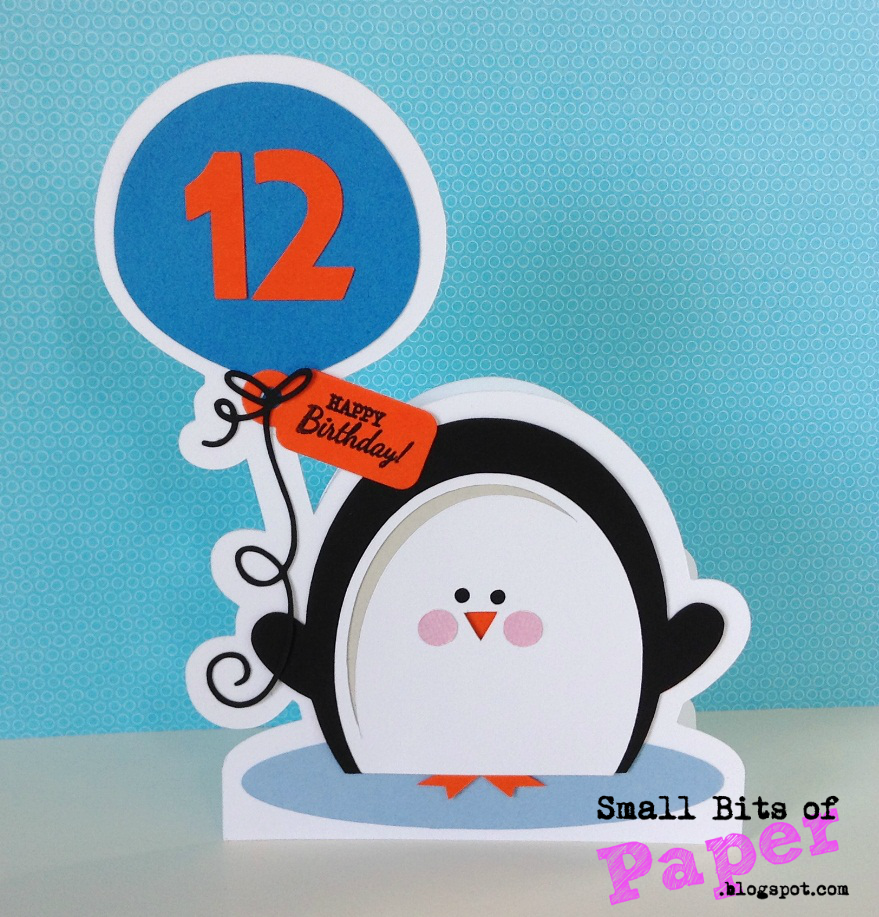 small bits of paper penguin birthday card, Birthday card
