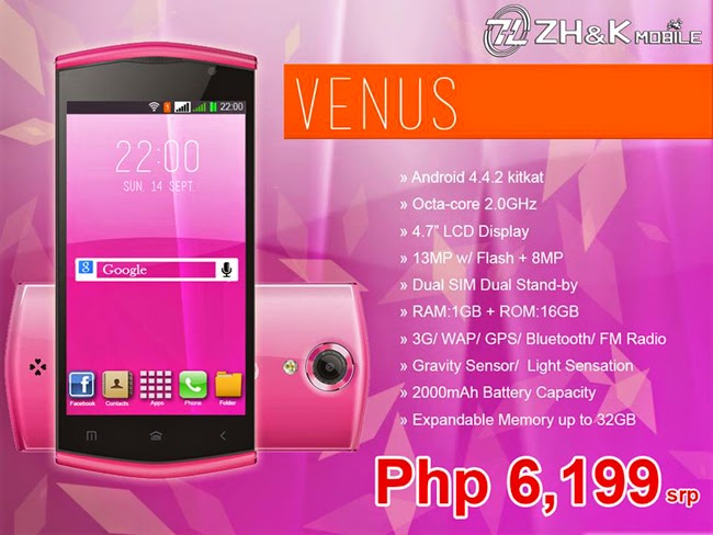 ZH&K Venus Smartphone Specifications and Prices