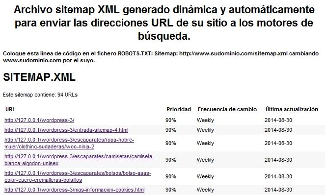 sitemap para wordpress con woocommerce genera y actualiza un