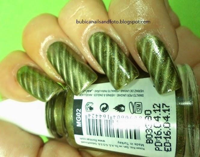 simple nails: 1463 Magnetic nail, flormar MG02 green