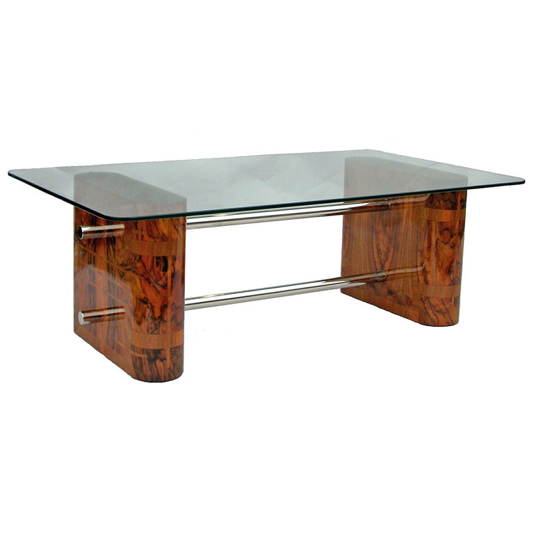 French Art Deco Coffee Table In Walnut Glass Chrome Circa 1930