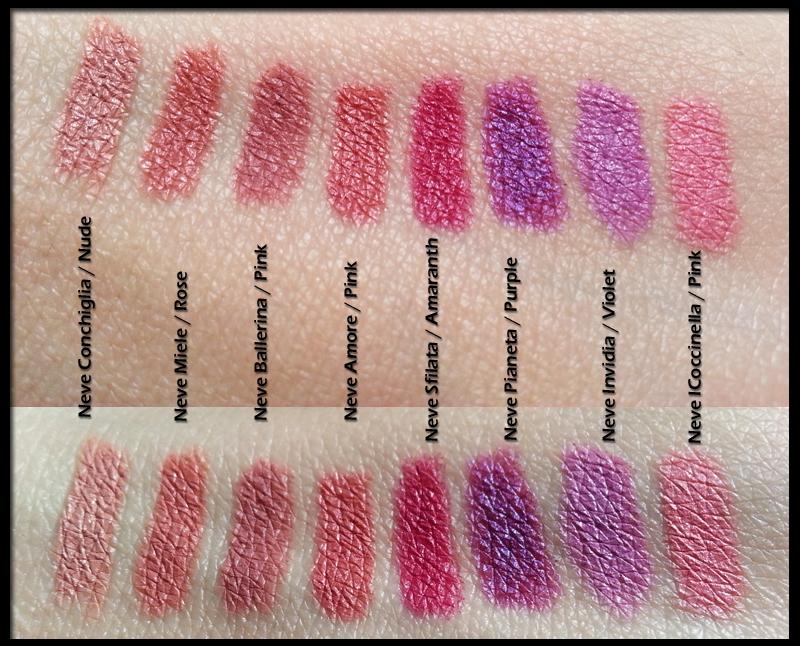 Neve Cosmetics - Pastello labbra - Conchiglia Nude; Miele Rose; Ballerina Pink; Amore Pink; Sfilata Amaranth; Pianeta Purple; Invidia Violet; Coccinella Pink Swatch