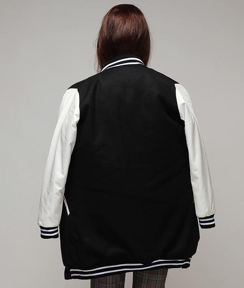 Faux-leather Sleeves Padded Baseball Jacket