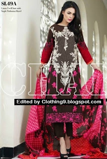 Embroidered Linen Suit with Pashmina Shawl